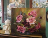Victorian Inspired Chic, Cottage Roses in a Glass Bowl ~ Still Life with Shabby Roses