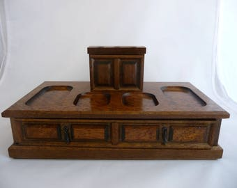 Wooden Jewellry Box Or Desk Top Storage For Pens And Papers, Paperclips, Desk Caddy