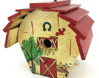 Vintage Hand Painted Folk Art Wood Bird House