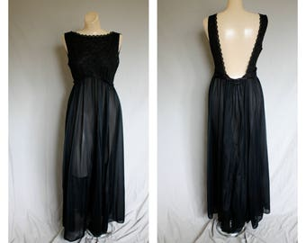 Black Lace Sweeping Nightgown / Vintage Long Sheer Nightgown / 1950s Black Lace Lingerie / Open Back Sexy Ver Marai Gown M