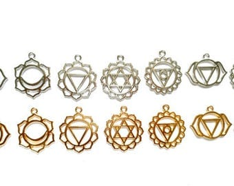 Set Of 7 Silver Or Gold Chakra Symbol Pendant/Charms - 21-32-7