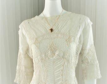 Antique 1910 Irish Crochet and Pintucked Wedding Dress/Lawn Dress