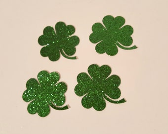 Shamrock Die Cut outs green glitter count of 30 four leaf clover St Patricks Day Irish party decorations