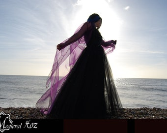 Beautiful Shimmer Organza Cloak with a train and Sleeves. Ideal for a Wedding, Handfasting or Medieval Event. Made to Order!