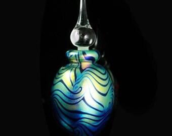 Signed perfume Art glass Iridescent stripe perfume bottle with dauber vanity accessory