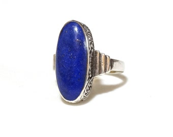 Vintage Antique Sterling Lapis Ring Blue Lapis Lazuli Stone Sterling Silver Victorian Art Deco Etched Sides Size 5.5