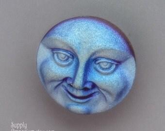 18mm Moon Face Czech Glass Button - 2817 - 18mm Light Amethyst AB Moon Face Czech Glass Button - 1 Piece - Iridescent Moon Face