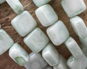 6mm Ocean Foam CzechMates Tile Bead, Ocean Foam 2-Hole Tile,  Pale Green Tile, 4175, 30 Beads