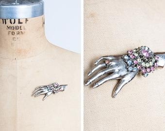 DESIGNER 1980s THELMA DEUTSCH Silvertone Hand Brooch with Rhinestoned Corsage // Schiaparelli Inspired