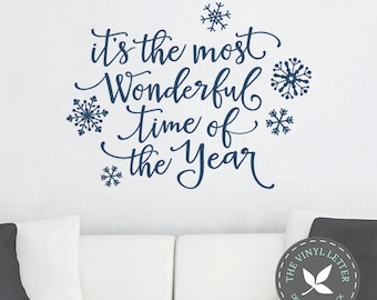 Its the Most Wonderful Time of the Year Christmas Snowflake Winter Vinyl | Sign Wall Home Decor Holiday Decal Sticker