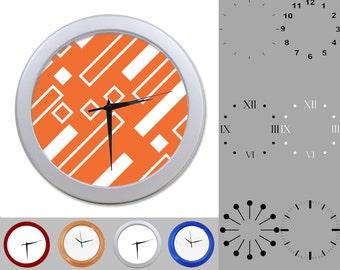 Orange Lined Wall Clock, Diagonal Linear Design, Graphic Blocks, Customizable Clock, Round Wall Clock, Your Choice Clock Face or Clock Dial