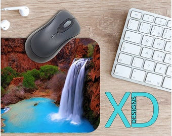 Waterfall Mouse Pad, Waterfall Mousepad, Cliff Rectangle Mouse Pad, Blue, Cliff Circle Mouse Pad, Waterfall Mat, Computer, Landscape, Cove