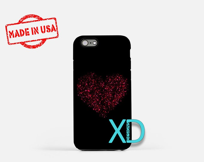 Sparkling Heart iPhone Case, Love iPhone Case, Heart iPhone 8 Case, iPhone 6s Case, iPhone 7 Case, Phone Case, iPhone X Case, SE Case