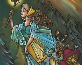 Vasilisa the Brave, Russian, Fairy Tale, Wall Art, Print 11x14