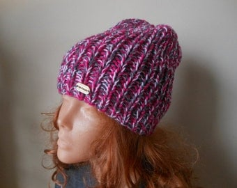 Hand Knit Slouchy Beanie Hat Acrylic  Grey Pink blend