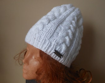 Hand Knitted Cable Slouchy Beanie Hat Acrylic White