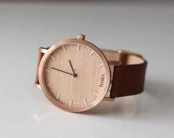 Womans Watch, Cherry Wood Rose Gold Watch, Brown Leather Strap - HELM-CR