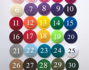 "50 Die Cut Felt Circles, Choose your Color and Size,  7 Circle size from 1/2""- 2"""
