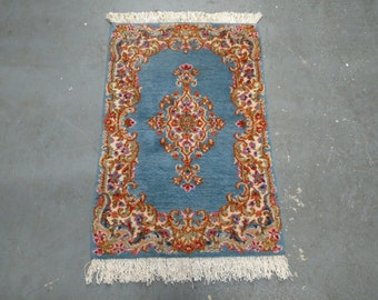 1970s Vintage, Hand-Knotted, Kerman Persian Rug (2804)
