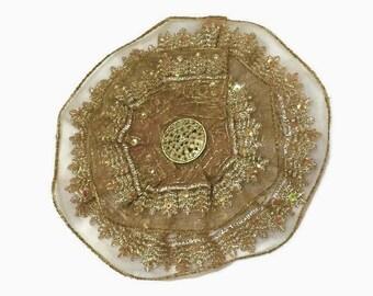 Embroidered Gold Kippah, Gold Yarmulke,  Gold Lace Kipa