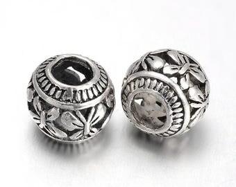 Tibetan silver european spacer beads,4.5mm hole,  antique silver, 6 pieces
