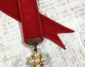 Vintage Velvet Bookmark - Red with Pearl Upcycled Earring Stocking Stuffers