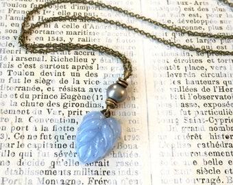 Vintage Blue Leaf Necklace | Czech Glass Leaf | Freshwater Pearl | Short Length