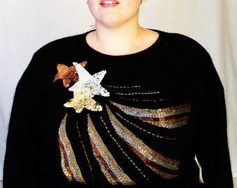 CLEARANCE - FINAL SALE - Plus Size - Vintage Black & Metallic Beaded Shooting Star Sweater (Size 2X)