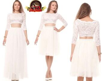 Tea length ivory elegant tulle skirt, Wedding soft tulle skirt, Tutu prom skirt, Custom made wedding bridesmaid formal crinoline skirt