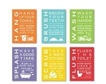 ON SALE Childrens Kids Bathroom Art Print Set of (6) Fine Art Home Decor 4 x 6 OR 5 x 7 Each Print - Wash Brush Flush ...
