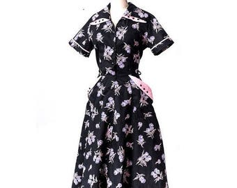 1950s Floral Print Day Dress Black Pink