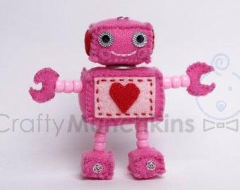 Cute Pink with Heart Plush Felt Robot