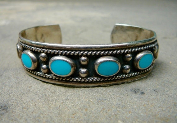 Taxco Turquoise Sterling Silver Cuff