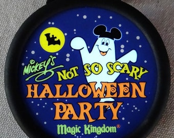 """Vintage Mid-90's """"Mickey's NOT SO SCARY Halloween Party Light-Up Button/Necklace"""