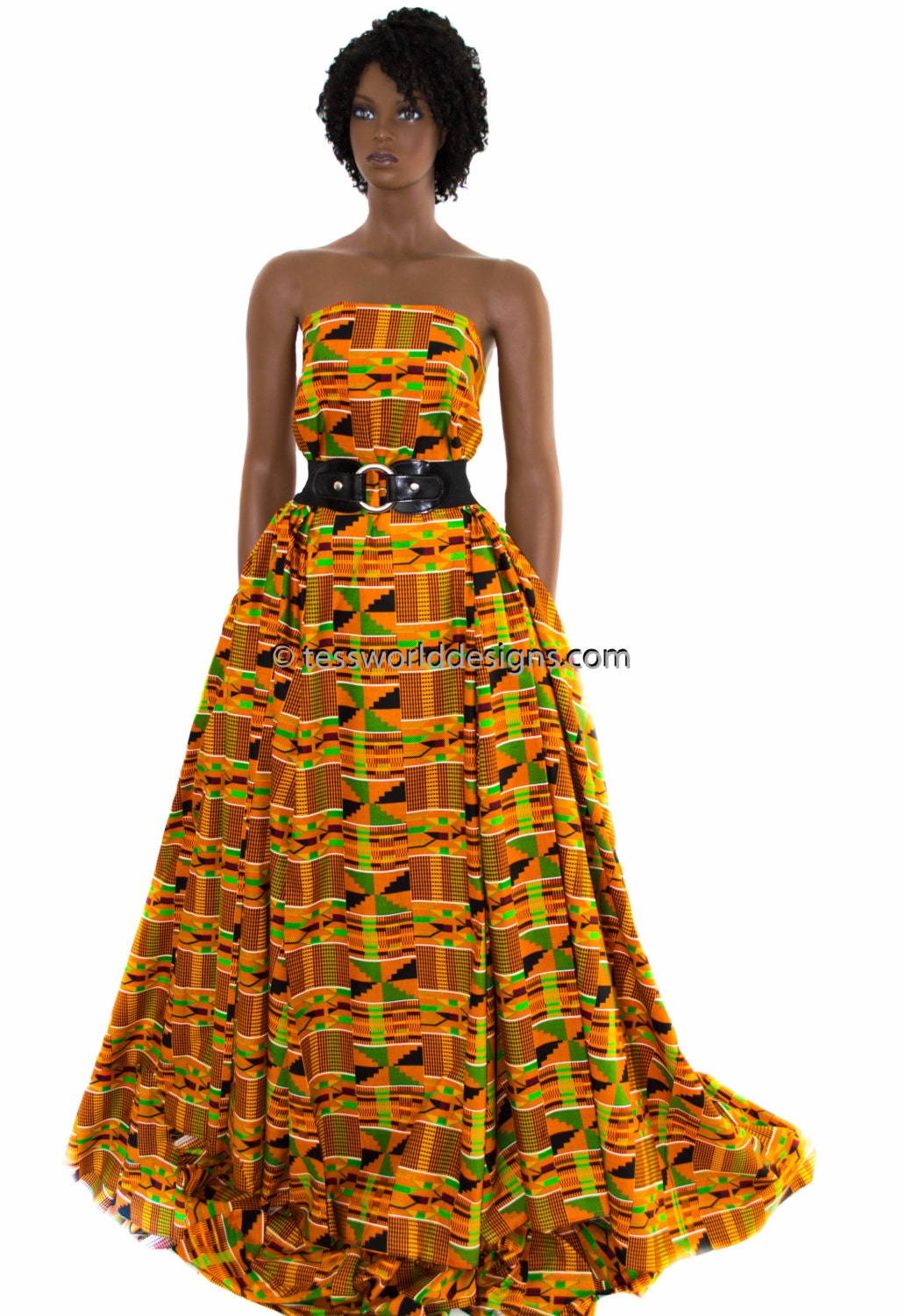 Traditional Kente Cloth Fabric Sold Per Yard Orange Kente