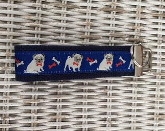 Blue Pug Dog Keychain - Dog Key Fob