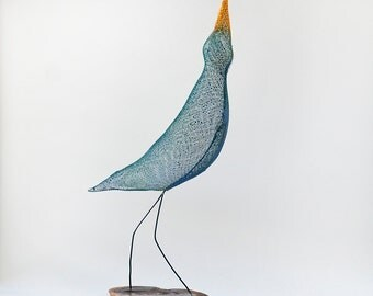Metal bird sculpture, Contemporary metal art, bird figurines, abstract bird art, Decorative art, rainbow bird