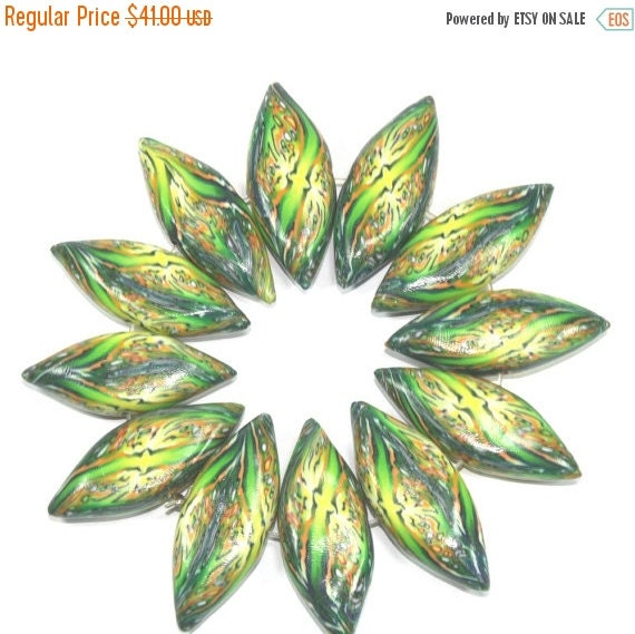 SALE 20% OFF - Polymer clay beads, prestigious beads, leaf shaped green beads, elegant beads, abstract pattern in greens, 12 Marquise beads
