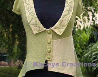 OOAK green and lemon altered couture cardigan.