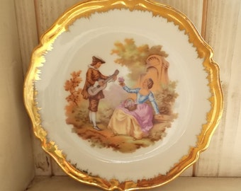 Vintage 1980s Limoges China  Minature Porcelain Gilt Framed Plate Courting Couple Collectable or Gift