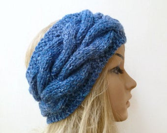 Acrylic Cable Headband - Women Knit Headband - Hand Knitted Headband - Braided Blue Ear Warmer - Women Braided Headband - Clickclackknits