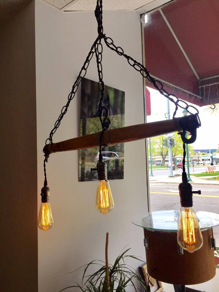 & Upcycled Lighting Fixture from Antique Yoke azcodes.com