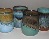 Pottery Wine Cups, Set of 4, 6 oz, Hand Thrown, Variety colors A