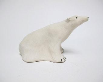 Polar Bear Sculpture,Ceramic Polar Bear,Polar Bear, Porcelain Polar Bear,Mini Polar Bear