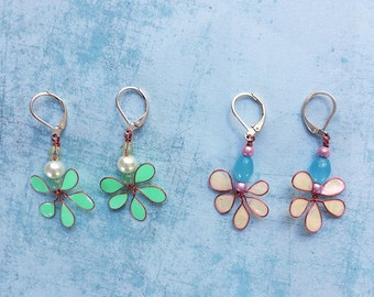 Dangle and Drop Earrings - set earrings - floral earrings - pending earrings - flower earrings - gif for her - multicolor - spring jewelry