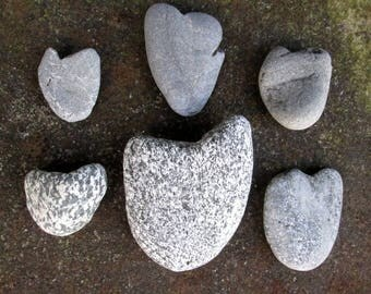 6 Natural Heart Rocks - Heart Shaped Beach Stones - Love Rocks - Valentine - Wedding - Anniversary HR 108