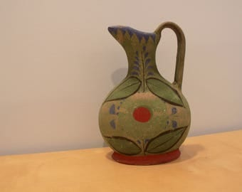 Vintage Mexican Red Clay, Hand Painted Jug/Vase