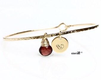 Petite Red Garnet Charm Bracelet / January Birthstone Bangle Bracelet / January Birthday Gift for Wife, Mom, Girlfriend / Sterling Silver