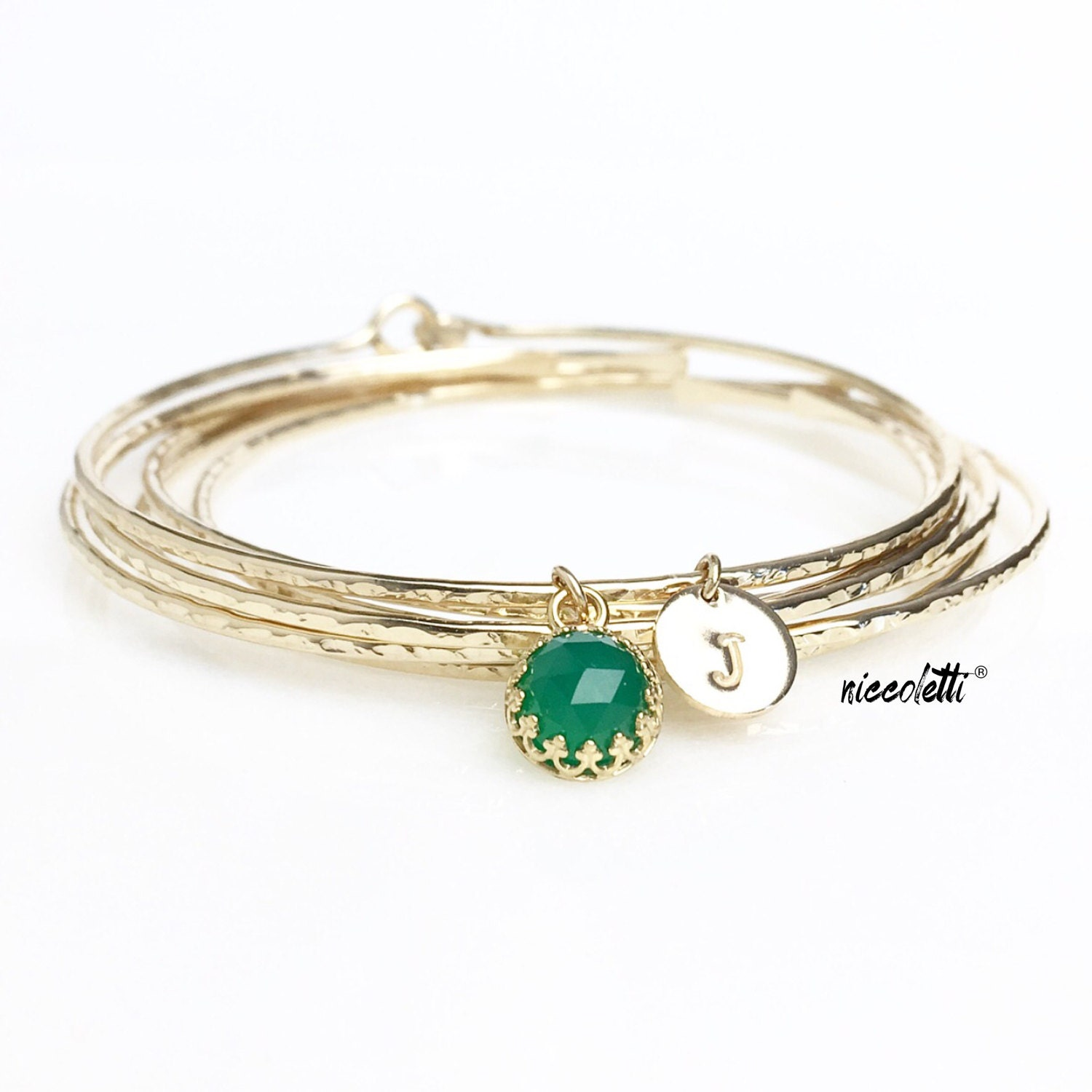 May Birthstone Bracelet / Personalized Emerald Green Gemstone Charm Bangle / Genuine Green Onyx / New Mother Gift / May Birthday Gift
