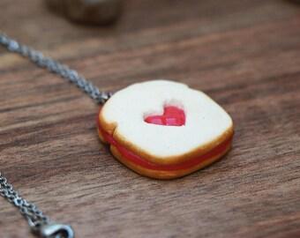 Strawberry Jam Toast Necklace - food jewelry, toast necklace, jam toast, kawaii necklace, miniature food